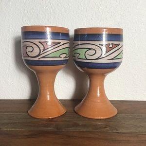 Set 2 Vintage Hand Made Stoneware Goblets Panama